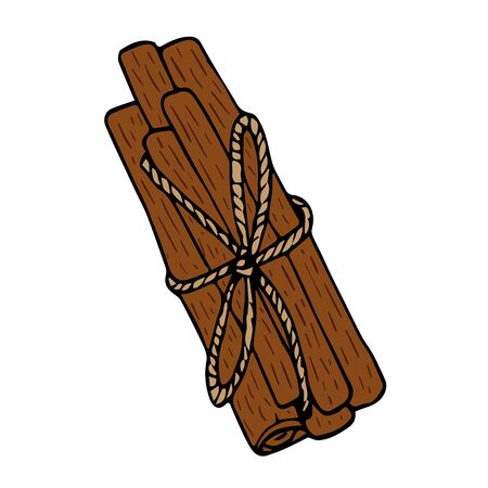 Ribbon cinnamon sticks, spice in doodle style isolated on white background vector stock illustration for design and decoration, for decal and interior decoration elements of winter decor Stock Illustratie