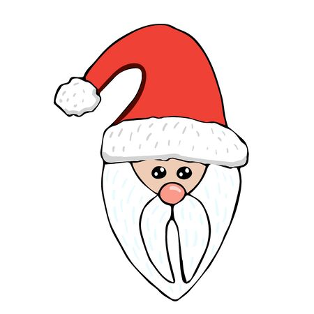 Santa Claus head with red hat and white beard in doodle style, isolated background vector stock illustration for design and decoration, for decal and interior decoration elements of winter decor