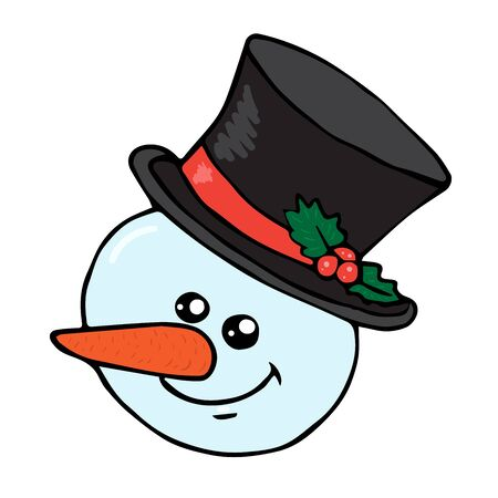 Snowman head with doodle hat isolated on white background vector stock illustration for design and decoration, for decal and interior decoration elements of winter decor