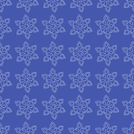 White snowflake pattern on a blue background vector stock illustration for design and decoration, for wrapping paper winter theme