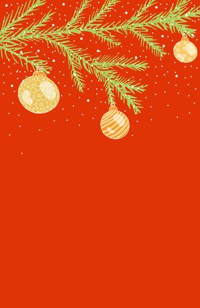 Christmas card, with green branches of a Christmas tree with Christmas balls and snow on a red background, with place for text stock vector illustration for design and decoration.