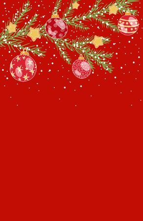 Greeting card with place for text, Christmas, Christmas tree branch with Christmas balls, stars and white snow on a red background, vertical stock vector illustration for design and decoration