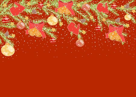 Horizontal Christmas background with yellow balls, bells, cones on the branches of a Christmas tree, with white snow on a red background, with place for text stock vector illustration for design