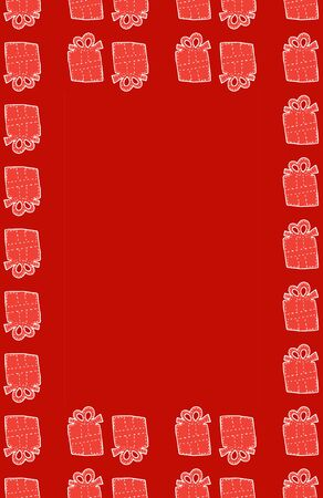 Red background with gifts and place for text, doodle style christmas card vertical stock vector illustration for design and decoration. Stock Illustratie