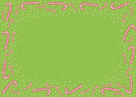 Christmas background with candies and white snow on a paper background, with place for text stock vector illustration for design and decoration.