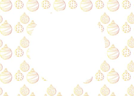 Christmas background with golden balls, isolated on white background, with place for text stock vector illustration for design and decoration.