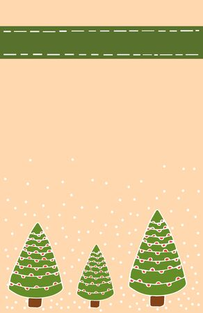 Christmas card with green Christmas trees in doodle style and with snow on a paper background, with place for text stock vector illustration for design and decoration. Stock Illustratie