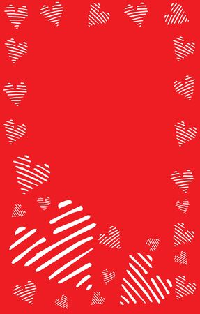 Vertical postcard, red background with white striped hearts, with place for text stock illustration for design and decoration