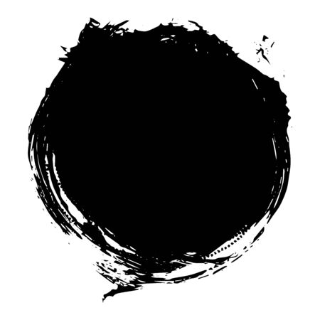 Round shape black stain, blot paint isolated on white background, vector illustration for design and decor, frames, logos, packaging, business cards, websites