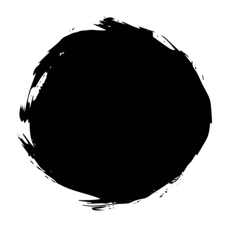 Round black spot, blot paint isolated on white background, vector illustration for design and decor, frames, logos, packaging, business cards, websites Stock Illustratie