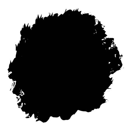 Brush stroke, black round stain isolated on white background, vector illustration for design and decor, business cards, logos, sites, packages Stock Illustratie