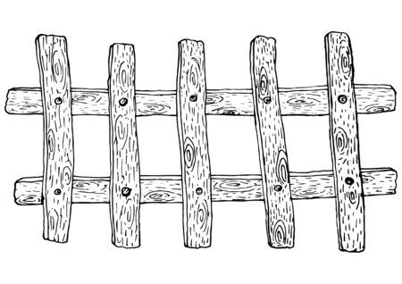 Sketch style old wooden fence plank in black line style on an isolated white background stock vector illustration for design and decor, logos, business cards, prints, interiors