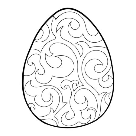 Easter egg with black ornament contour isolated on white background. Stock vector illustration for design and decor, stickers, window dressing, coloring book, template for cutting