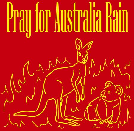 Pray for Australia Rain with the inscription vector illustration poster, red background with a yellow outline, kangaroo and koala on a background of fire.