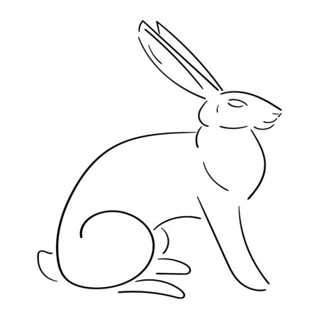 Line rabbit, hare, black outline isolated on white background