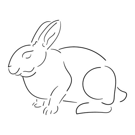 Line rabbit black outline isolated on white background