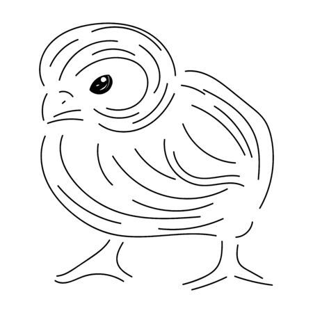 Sketch chicken with black contour lines, isolated on white background Stock Illustratie