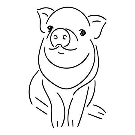 Little piggy, black line isolated on a white background, stock vector illustration, for design and decor, logos, prints, baby images, stickers Stock Illustratie