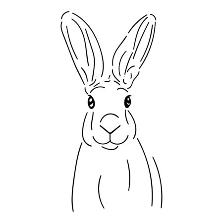 Cute rabbit, (hare) simple black line isolated on white background
