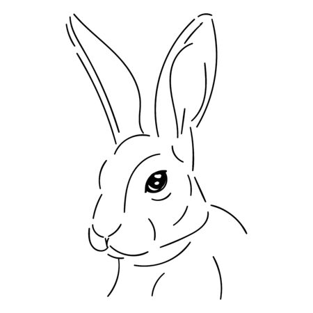 Cute rabbit, head simple black line isolated on white background