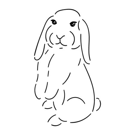 Cute rabbit simple black line isolated on white background, stock vector illustration for design and decor, easter theme, for logo and prints