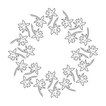 Round frame of daffodils, simple lines of black color isolated on a white background stock vector illustration for design and decor, background for cards and invitations