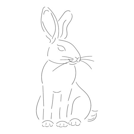 Rabbit line black isolated on white background vector stock illustration, for design and decoration, easter theme, one line, for prints and stickers