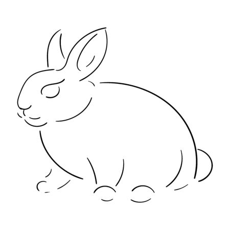 Cute rabbit, black line isolated on white background, vector stock illustration, for design and decor, easter theme, one line, for prints and stickers