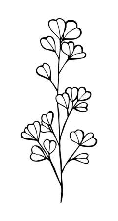 Dessin de contour d'eucalyptus de couleur noire isolé sur fond blanc, illustration vectorielle en nid d'abeille pour la conception et la décoration, tatouage, autocollant, logo, impressions Logo