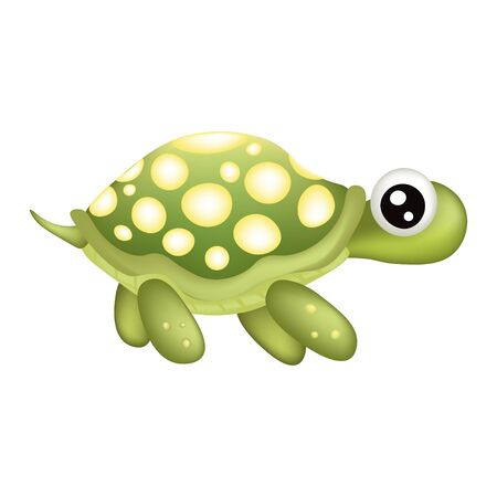 Funny green turtle isolated on white background with 3D effect, stock vector illustration for design and decor, print, logo, children's, cute, marine theme
