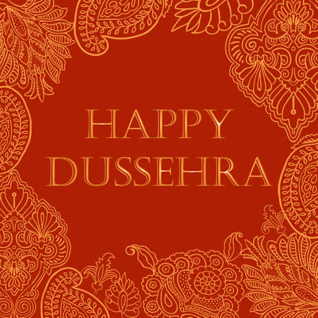 Banner with Indian ornaments, with happy dussehra golden on a red background, stock vector illustration, for design and decoration, postcard, poster