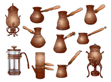 Set of containers for making coffee, antique, cezva, made in vintage style, stock vector illustration for design and decor, sticker, template, copper cookware