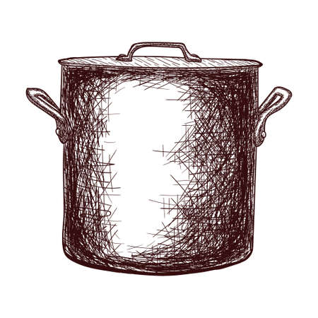 Sketch of a saucepan with a lid contour drawing isolated on white background, stock vector illustration, for design and decoration, sticker, template, vintage, banner, copper cookware Vecteurs