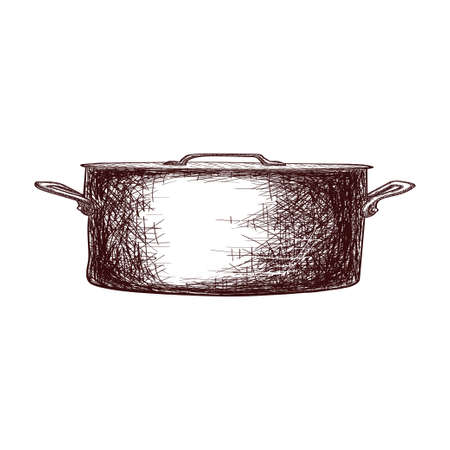 Sketch of a saucepan with a lid contour drawing isolated on white background, stock vector illustration, for design and decoration, sticker, template, vintage, banner, copper cookware