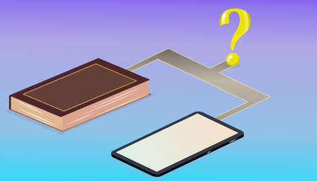 the way to choose between phone and book Stock Illustratie