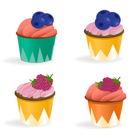 Set of 4 cupcakes isolated on a white background. Illustration in cartoon style. Cupcakes with cream, raspberries and blueberries. Dessert cups yellow, green and orange.