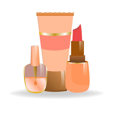 Set of cosmetics in cartoon style. Nail polish, lipstick and a tube of cream. Decorative cosmetics for girls and women. Personal care products isolated on white background.