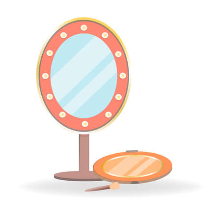 Set of cosmetics in cartoon style. Mirror with flashlights and tenes palette with sponge. Decorative cosmetics for girls and women. Personal care products isolated on white background.