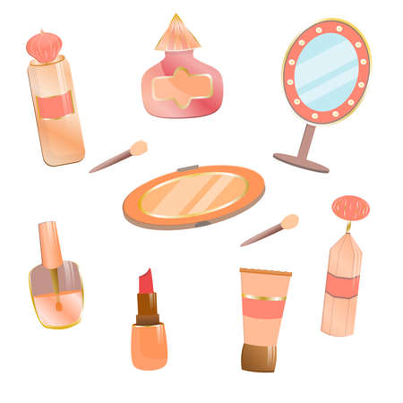 Set of cosmetics in cartoon style. A mirror with flashlights and a palette of eyeshadows with a sponge, perfume, lipstick, varnish. Decorative cosmetics for girls and women. Personal care products isolated on white background. Vettoriali