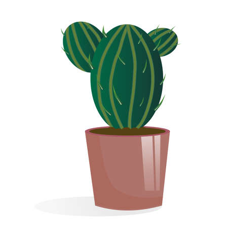 Cactus in a pot isolated on a white background. Cactus with needles and stripes. Illustration in cartoon style. Home plant in a pot with soil.