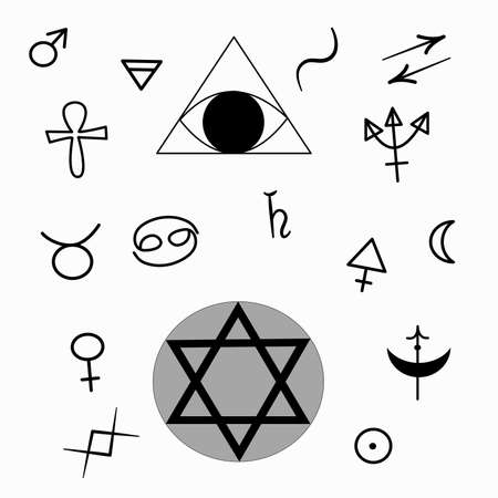 Heromancy. A set of signs for heromancy are isolated on a white background. In black, the symbols are pentagram, astrological signs, gender signs and an eye in a triangle.