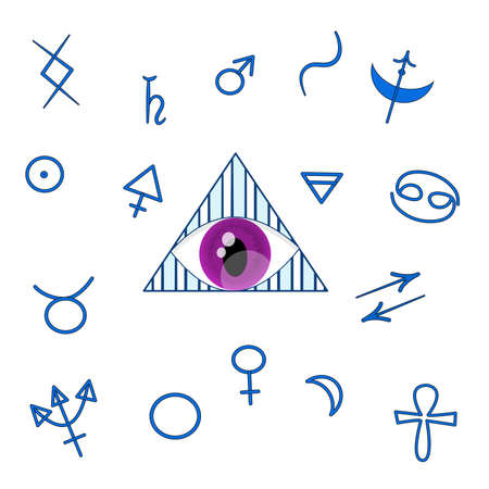 Heromancy. A set of signs for heromancy are isolated on a white background. Symbols, astrological signs, gender signs and an eye in a triangle are in blue. Eye in cartoon style.