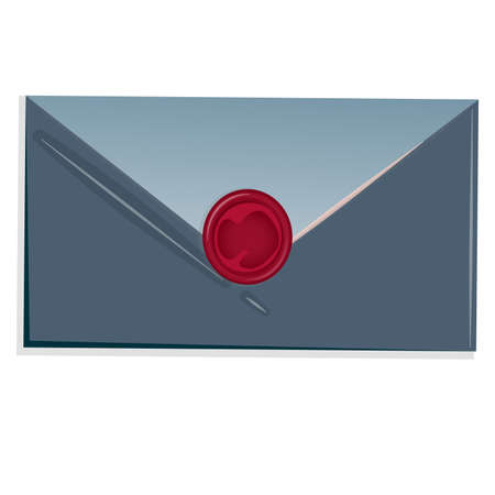 Envelope with wax seal isolated on white background. Illustration in flat cartoon style. Envelope in dark colors with burgundy print. 版權商用圖片