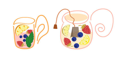 The tea set is isolated on a white background. Teapot and mug with mint, lemon, tea bag and blueberries and raspberries. Vector drawn by hand, illustration in a flat style. Custard fruit drink.