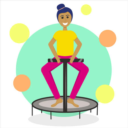 A girl on a fitness trampoline is isolated on a white background. Vector illustration in flat style. Jumping sports for a slim figure. Healthy lifestyle.