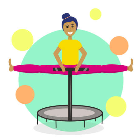 A girl on a fitness trampoline is isolated on a white background. Vector illustration in flat style. Sports jumps for a slim figure. Healthy lifestyle. The girl in the twine.