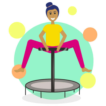 A girl on a fitness trampoline is isolated on a white background. Vector illustration in flat style. Sports jumps for a slim figure. Healthy lifestyle. Girl in the jump before the splits.