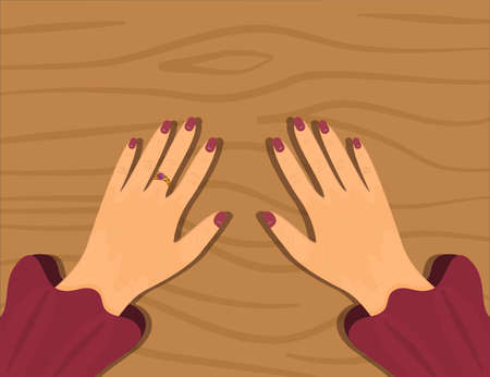 Hands on a wooden table. Vector illustration in a simple flat style. Two women's hands with painted nails and a ring. Top view of the hands.