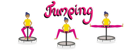 Set of girls jumping on a fitness trampoline isolated on a white background. In the center is the inscription Bouncing.The process of jumping on a trampoline to the splits. Vector illustration in a simple flat style.