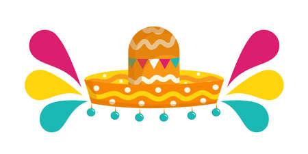 Mexican sombrero isolated on a white background. Vector illustration in flat cartoon style. Accessory for the festival with bells and bright splashes..